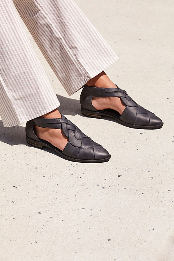 leather flats | woven artisan ankle strap sandal | Girlfriend is Better