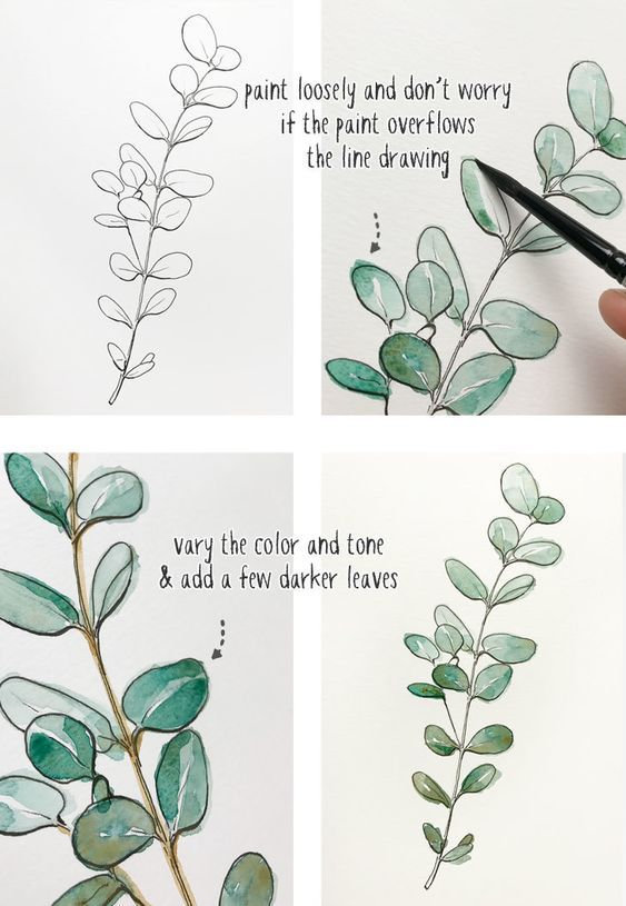 watercoloring | painting techniques diy botanical leaves brush paper | Girlfriend is Better
