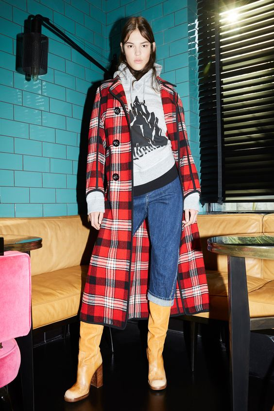 winter layers | red plaid mid-length coat hoodie sweatshirt tan boots | Girlfriend is Better