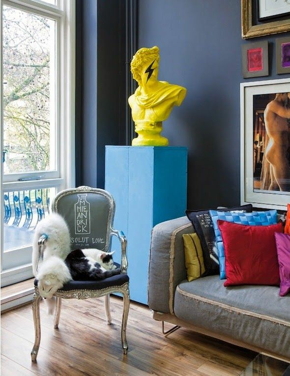 bust statues   yellow painted Bohemian eclectic upcycled furniture   Girlfriend is Better